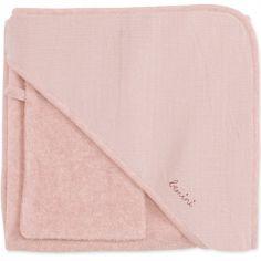 Cape de bain + gant Cadum vieux rose (90 x 90 cm)