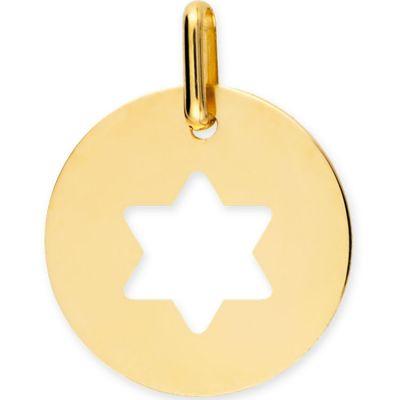 Médaille personnalisable Etoile de David ajourée (or jaune 750°)  par Lucas Lucor
