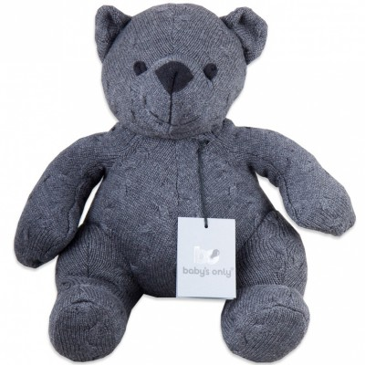 Peluche ourson Cable Uni gris anthracite (35 cm) Baby's Only
