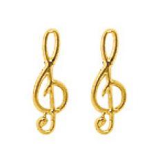 Boucles d'oreilles Clé de Sol (or jaune 750°)