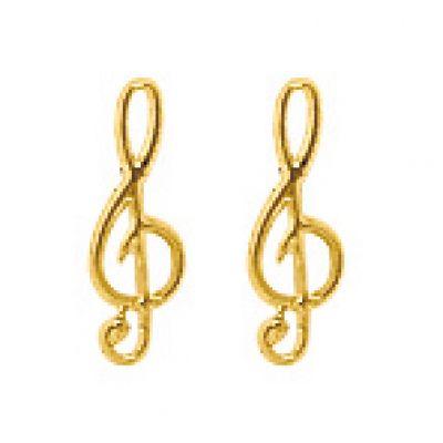 Boucles d'oreilles Clé de Sol (or jaune 750°)  par Berceau magique bijoux