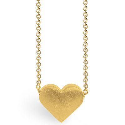 Collier chaîne 40 cm pendentif Full coeur 08 mm (vermeil doré)  par Coquine