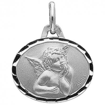 Médaille ovale Ange de Raphaël 16 mm facettée (or blanc 750°)  par A.Augis