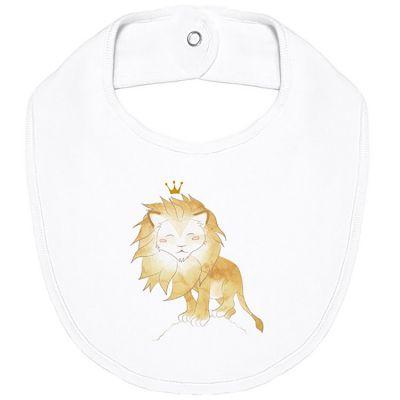 Bavoir à pression en coton bio Lion  par Les enfants rois