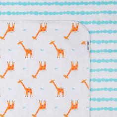 Lot de 2 maxi langes en coton flanelle Jaime la girafe (100 x 100 cm)