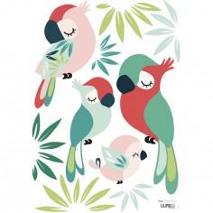 Planche de stickers A3 de perroquets