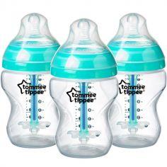 Lot de 3 biberons Anti-colique avancé turquoise (260 ml)