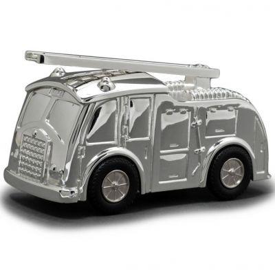 Tirelire Camion de pompiers personnalisable (métal argenté)  par Daniel Crégut