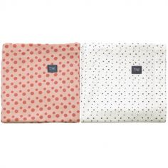 Lot de 2 langes en coton Dusty rose et Bumble (80 x 80 cm)
