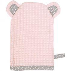 Gant de toilette ours en nid d'abeille rose blush