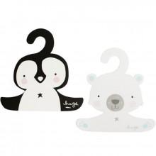 Lot de 2 cintres en carton animaux polaires  par A Little Lovely Company