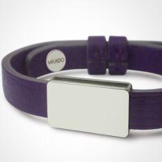 Bracelet cuir Hip-Hop Violet (or blanc 750° et cuir)