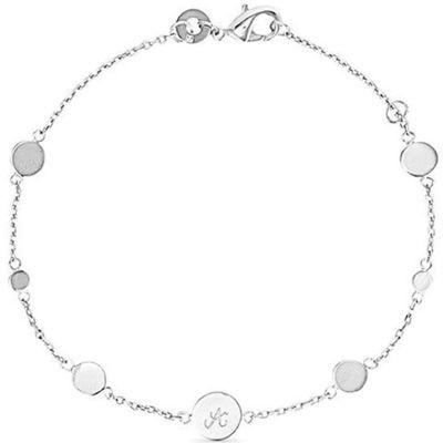 Bracelet Pastille initiale sur chaîne personnalisable (argent 925°) Merci Maman
