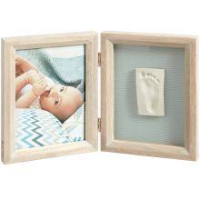Cadre photo et empreinte 2 volets My Baby Touch bois cérusé  par Baby Art