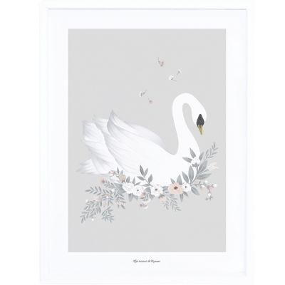Affiche encadrée Le Cygne Grace gris (30 x 40 cm)  par Lilipinso