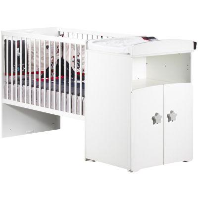 Lit bébé combiné évolutif New Basic Boutons étoile gris (60 x 120 cm)  par Baby Price