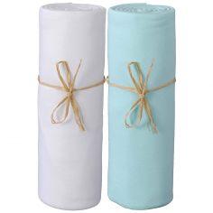 Lot de 2 draps housses en coton bio blanc et turquoise (70 x 140 cm)