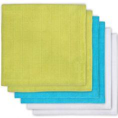 Lot de 6 langes blanc, vert, bleu (70 x 70 cm)