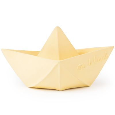 Jouet de bain bateau origami latex d'hévéa vanille  par Oli & Carol