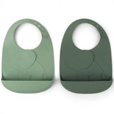 Lot de 2 bavoirs en silicone Elphee verts Peekaboo