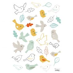 Stickers A3 woodland les oiseaux Woodland by Lizzie Mackay (29,7 x 42 cm)
