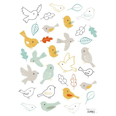 Stickers A3 woodland les oiseaux Woodland by Lizzie Mackay (29,7 x 42 cm)  par Lilipinso