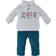 Ensemble pantalon 2 pièces Jazz Music turquoise (18 mois)