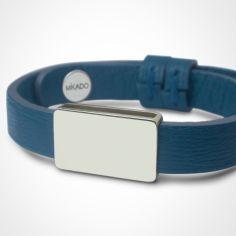 Bracelet cuir Hip-Hop Bleu jean (or blanc 750° et cuir)