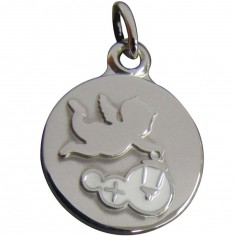 Médaille Ange à la lanterne 14 mm (argent rhodié 925°)