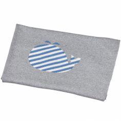 Couverture en coton Blue baleine (80 x 100 cm)