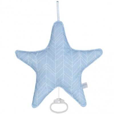 Coussin musical étoile Blue leaves (26 x 24 cm) Little Dutch
