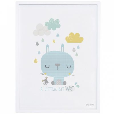 Affiche encadrée lapin et souris Smile, it's raining by Dawn Machell (30 x 40 cm)  par Lilipinso