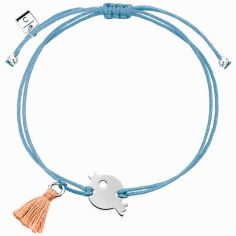 Bracelet cordon bleu Mini Coquine oiseau (argent 925°)