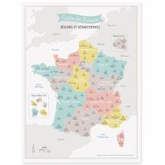 Affiche A3 Carte de France (avec nouveau découpage des régions)
