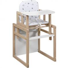 Chaise haute 2 en 1 Tik Tak blanche et bois