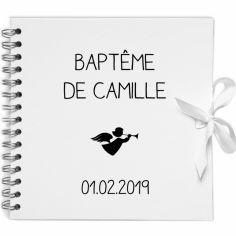 Album photo baptême personnalisable blanc et noir (20 x 20 cm)