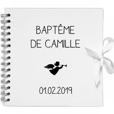 Album photo baptême personnalisable blanc et noir (20 x 20 cm) Les Griottes