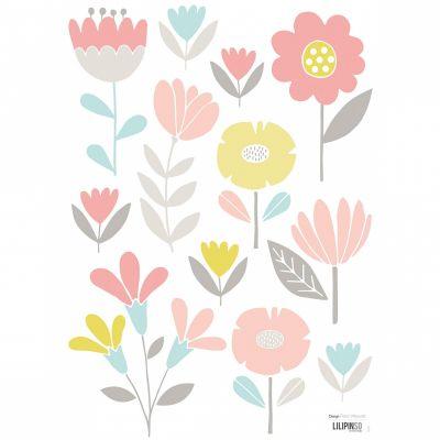 Planche de stickers fleur Sweet Bunnies by Flora Waycott (29,7 x 42 cm)  par Lilipinso