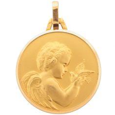 Médaille ronde Ange à la colombe 16 mm (or jaune 750°)