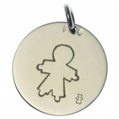 Médaille Pastille petit garçon 18 mm (or blanc 750°)