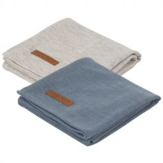 Lot de 2 langes Pure blue et grey (70 x 70 cm)
