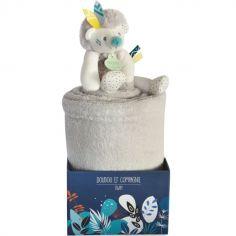 Couverture bébé en polaire avec doudou hérisson (100 x 70 cm)