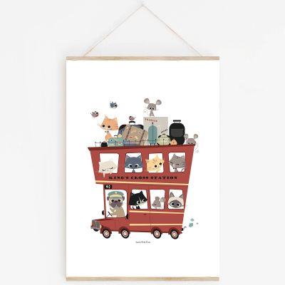 Affiche A4 Mon fabuleux bus Londonien avec support  par Lutin Petit Pois