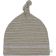 Bonnet en coton bio Cozy Colors rayé gris chiné (0-2 mois)