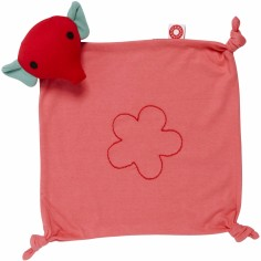 Doudou carré attache sucette Mimmi l'éléphant rose en coton bio