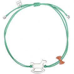 Bracelet cordon vert turquoise Mini Coquine cheval (argent 925°)
