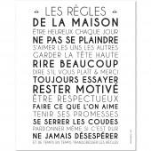 Affiche adhésive Les règles de la maison blanc (60 x 40 cm) - Mes Mots Déco