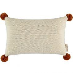 Coussin tricoté à pompons écru So Natural (22 x 35 cm)