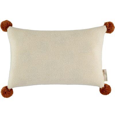 Coussin tricoté à pompons écru So Natural (22 x 35 cm)  par Nobodinoz