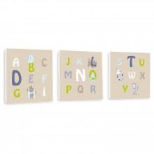 Tableau trio taupe Alphabet (20 x 20 cm)  par Home Corner